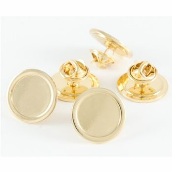 Superior Badge Blank round 16mm gold clutch and clear dome